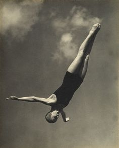 Olympic diver Marjorie Gestring (youngest Gold medalist in history) at the Berlin Olympics, 1936.