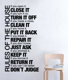Rules of the House text wall decal for home decoration