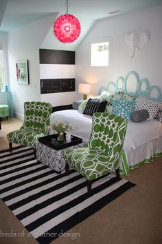 """This girl's room includes a graphic black and white striped rug and storage ottoman. Bright pillows and green bamboo lamps add tons of punch to this """"tween"""" haven. The best accessories come from HomeGoods!"""