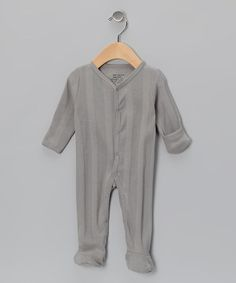 Take a look at this Gray Ribbed Organic Footie - Infant by Max + Ella on #zulily today!