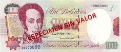 Pieza bbcv1000bs-ac03s (Anverso). Billete del Banco Central de Venezuela. 1000 Bolívares. Diseño A, Tipo C. Fecha Agosto 06 1998. Serie 8 dígitos. Billete tipo specimen