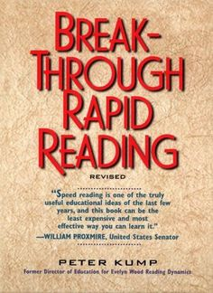 Break-Through Rapid Reading Based on the discoveries of Evelyn Wood, a speed reading expert reveals the secrets of an increased reading rate and improved retention skills through a series of graded drills and exercises Book Of Life, This Book, Good Books, Books To Read, Speed Reading, English, Reading Lists, Reading Books, Reading Skills
