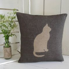 ' Cat ' Cushion (Charcoal)