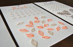 2013 Limited Edition Wall OR Desk Letterpress Printed Calendar