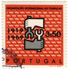 Commemorative stamps for the 50th anniversary of International Labour Organization. Designed by Abel Manta in 1969 and printed in Casa da Moeda.