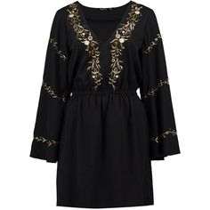 Boohoo Thea Embroidered Flared Sleeve Skater Dress   Boohoo ($26) ❤ liked on Polyvore featuring dresses, flared sleeve dress, embroidered dress, bell sleeve dress, broderie dress and boohoo dresses