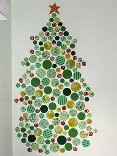 """I love this idea. The line says, """"Step away from the spray starch"""", or easy wall decals. There is also a wreath. 2d Christmas Tree, Fabric Christmas Trees, Christmas Love, Christmas Holidays, Christmas Ideas, Christmas Tree Ideas For Small Spaces, Merry Christmas, Holiday Crafts, Holiday Fun"""