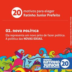20 motivos para eleger Ratinho Junior prefeito. Compartilhe com os amigos o motivo N° 2 #equipenovasideias