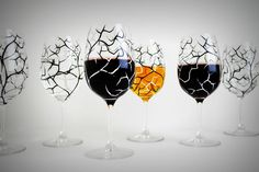 Halloween Glasses: Spooky Black and White Trees with bats. Hand-Painted and available from MaryElizabethArts.com
