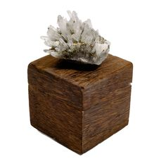 Wood Ring Box with Pyrite Quartz