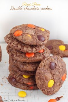 Reese's Pieces Double Chocolate Cookies Recipe ~ Crispy chewy brownie in a cookie form. These cookies packed with Reese's pieces are irresistible!
