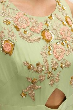 Aneesh Aggarwal presents Pistachio green embroidered cut out jumpsuit available only at Pernia's Pop-Up Shop. Shirt Embroidery, Gold Embroidery, Embroidery Designs, Designer Blouse Patterns, Blouse Designs, Anarkali, Lehenga, Saree, Indian Fashion Salwar