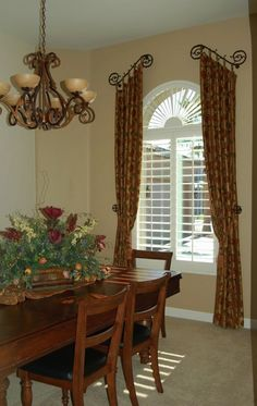 Kitchen and Dining Room Curtains Beautiful Tuscan Country Window Treatments Dining Rooms Dining Room Curtains, Kitchen Window Curtains, Dining Room Windows, Home Curtains, Valence Curtains, Curtains For Arched Windows, Baby Curtains, Privacy Curtains, Burlap Curtains