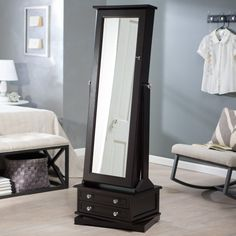 Black finish wood free standing cheval floor mirror jewelry armoire
