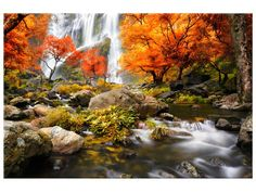 Ardemy Canvas Wall Art Prints Landscape Waterfall Nature Scenery Painting Modern Artwork Large Size Mountain Picture Framed Ready to Hang for Living Room Bedroom Home Office Decor One Piece Canvas Wall Art, Wall Art Prints, Forest Waterfall, Mountain Pictures, Scenery Paintings, Glass Printing, River Park, Tile Murals, Modern Artwork