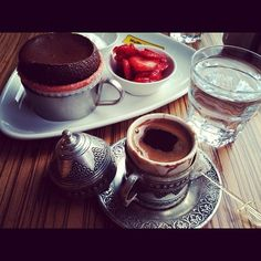 Chocolate Souffle And Turkish Coffee.