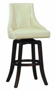 Homelegance 2479-29CRS Annabelle Cream Synthetic Leather Swivel 29-Inch Pub Bar Stool, Set of 2