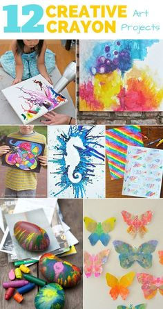12 creative crayon art projects for kids fun kids crafts ide Art Projects For Teens, Cool Art Projects, Fun Crafts For Kids, Art For Kids, Arts And Crafts, Kid Art, Art Crafts, Ocean Crafts For Teens, Diy Projects