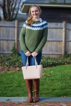 Vineyard Vines fair isle goes perfectly with Tory Burch
