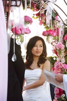Wedding Ceremony Arbor Arch - gorgeous colours, I love the pink, green ribbons and the dainty crystal combination.