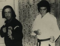 """thepublics:  Bruce Lee and Elvis:  Elvis was a major martial arts aficionado (his karate nickname was """"Tiger"""") whose instructor was Ed Parker, the man who introduced Lee to Jay Sebring, who in turn introduced Lee to Hollywood. Elvis's spiritual guru Larry Geller—whose book The Truth About Elvis is by far the best Elvis bio—was an employee of Jay Sebring (Geller met Elvis while giving him a haircut in Hollywood). Finally, Lee's disciple Mike Stone was Priscilla Presley's karate instructor…"""