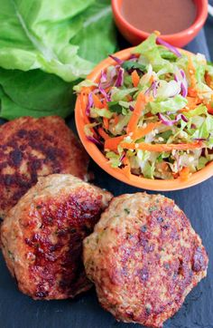 Chinese Chicken Salad Burgers. Unbelievably juicy chicken burgers topped with Chinese slaw. #paleo #glutenfree