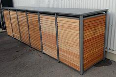 Die Mülltonnenbox Holz Lärche mit Alu wird ohne Lochung, mit Vierkantlochung oder Rundlochung wird zweifarbig geliefert. Besuchen Sie unseren Online-Shop.