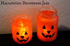 Halloween Decoupage Jars - quick and easy!  Use for candy, favors, LED tea lights, and more!