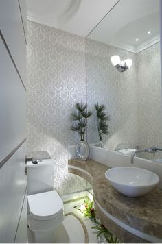 Jardim de inverno com plantas artificiais em banheiros e lavabos - veja modelos lindos!