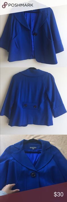 Bright blue cropped jacket Royal blue cropped jacket. Nordstrom brand Classiques Entier. Fully lined Nordstrom Jackets & Coats