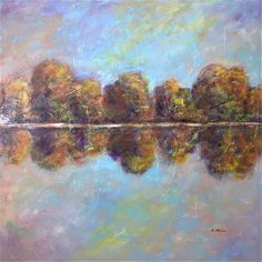 Autumn by the Lake  LARGE original painting 30x30 by artstudio29