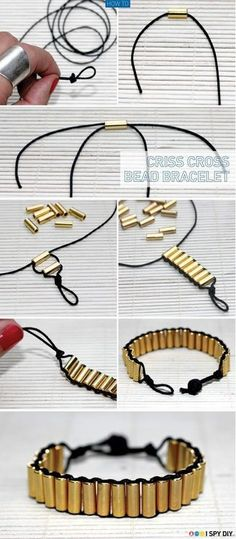 DIY Criss Cross Bead Bracelet DIY Projects / UsefulDIY.com (diy,diy projects,diy craft,handmade,diy criss cross bead bracelet)