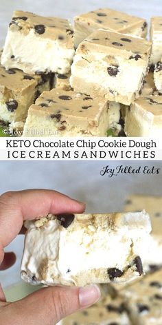 Chocolate Chip Cookie Dough Ice Cream Sandwiches Low Carb Keto THM S Yes, you read that right. Keto, Low carb, sugar & gluten free, THM S & a no ice cream machine option! Keto Cookies, Keto Chocolate Chip Cookies, Chocolate Desserts, Cookies Et Biscuits, Keto Cookie Dough, Almond Cookies, Pumpkin Cookies, Shortbread Cookies, Sugar Cookies