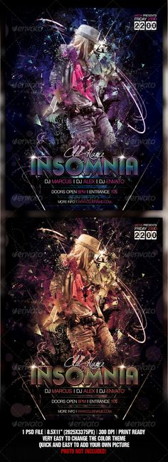Insomnia Night Club Party / Concert Flyer / Poster - GraphicRiver Item for Sale
