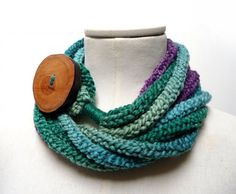 Knit Loop Scarf Necklace, Infinity Scarlette Neckwarmer - Green, Purple, Teal ombre yarn with big wood button - Handmade by ixela designed in Italy