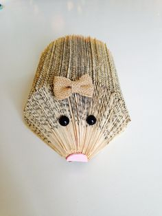 Folded paper critter- hedgehog- Ready to ship by LowlyBookworm on Etsy