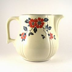 vintage Hall china pitcher  Hall Red Poppy by StrychnineVintage