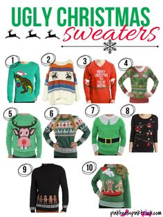 10 Ugly Christmas Sweaters Perfect for any Holiday Party!! via pinkheelspinktruck.com #uglychristmassweaters #sweater #christmas #winter #holidayparty #christmasparty