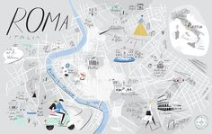 Cool cartography: the art of mapmaking. Rome by Libby VanderPloeg In New York-based illustrator VanderPloeg's playful maps, lines tracing major streets become decorative flourishes, while text bubbles call out her favourite shops, parks, restaurants and boutiques.
