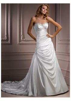 Satin Strapless Beaded Sweetheart Neckline Rouched Bodice And A-line Pick-up Skirt Pinched With Beade Detail And Chapel Train 20