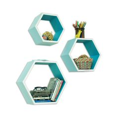 Bee-lieve Bookshelf in Blue - Set of 3 | dotandbo.com