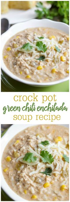 Crock Pot Green Chile Enchilada Soup - a new favorite soup recipe that is easy to make AND delicious! { lilluna.com } Packed with chicken, green chiles, corn, rice, and mixed with lots of spices and cheeses.