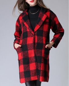 Stylish Turn-Down Collar Long Sleeve Loose-Fitting Gingham Coat For Women