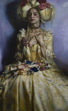 "Teresa Oaxaca, ""Pearls"" - 46x28, oil on canvas--at Principle Gallery"