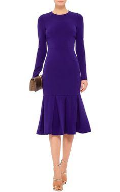Purple Long Sleeved Trumpet Flare Dress by CUSHNIE ET OCHS Now Available on Moda Operandi