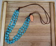 "38"" turquoise and leather necklace @cindysfaves.com   $42 #loveit #cindysfaves.com"