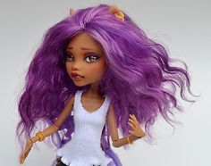OOAK Repainted Monster High Clawdeen W/ Rerooted Mohair and Custom Outfit
