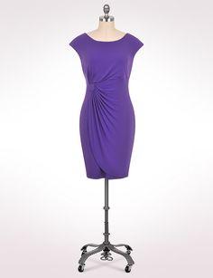 | Plus Size Solid Faux Wrap Dress | dressbarn