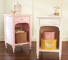 Gorgeous bedside tables and hat boxes