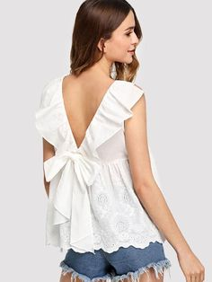 Shop Bow Tie Ruffle V-Back Embroidered Top online. SheIn offers Bow Tie Ruffle V-Back Embroidered Top & more to fit your fashionable needs. Blouse Patterns, Blouse Designs, Moda Junior, Creation Couture, Couture Tops, Embroidered Blouse, Creations, Fashion Outfits, Clothes For Women